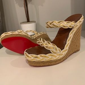 Authentic Christian Louboutin Braided Wedges